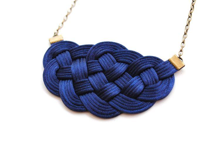 Big sailor's knot necklace in navy satin cords by elfinadesign, $27.00
