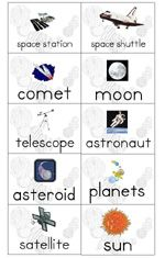 More for primary age kids but could be useful for a word bank for precocious 4 year olds...  solar system pack.  good vocab and sentence formation printable