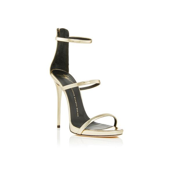 Giuseppe Zanotti Shooting Platinum Three Strap Sandals (12 400 UAH) ❤ liked on Polyvore featuring shoes, sandals, giuseppe zanotti, giuseppe zanotti shoes, metallic high heel shoes, metallic high heel sandals and high heel sandals