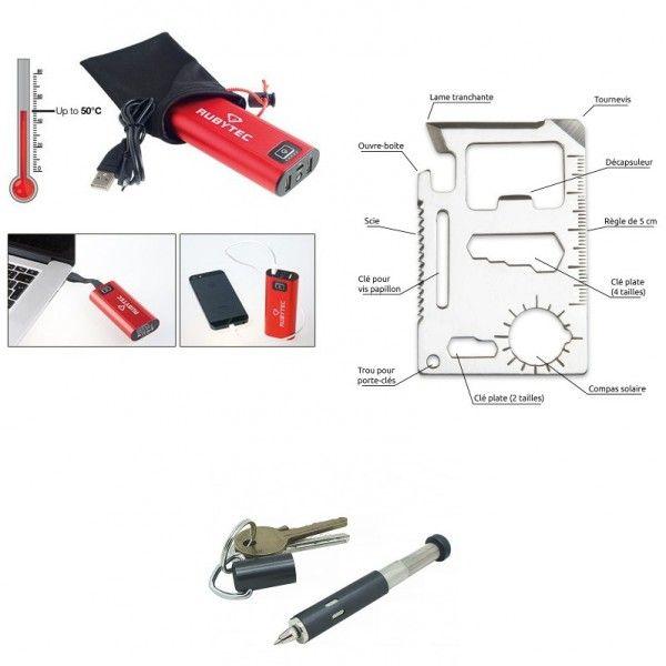 Pack Citadin composé d'un stylo télescopique à accrocher à un trousseau de clé, d'une carte multifonction à glisser dans un portefeuille et d'un chargeur de secours pour recharger son téléphone ou sa tablette à tout moment.