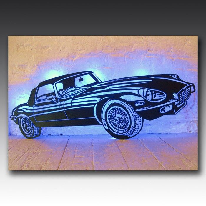 This laser cut, LED backed Jaguar art work will be the centrepiece of any room it's in.