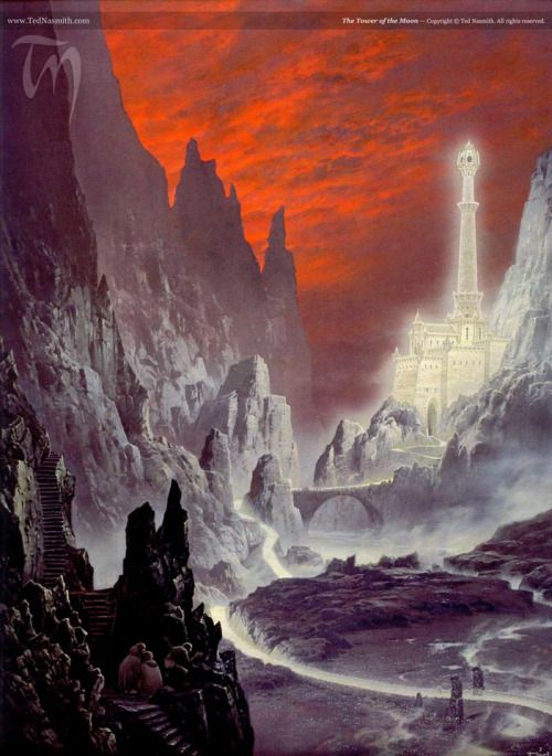 The Tower of the Moon; art by Ted Nasmith  A long-tilted valley, a deep gulf of shadow, ran back far into the mountains. Upon the further side, some way within the valley's arms high on a rocky seat upon the black knees of the Ephel Duath, stood the walls and tower of Minas Morgul. All was dark about it, earth and sky, but it was lit with light. Not the imprisoned moonlight welling through the marble walls of Minas Ithil long ago, Tower of the Moon, fair and radiant in the hollow of the…