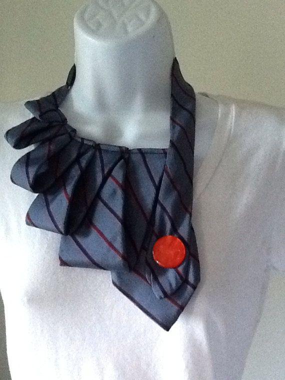 Upcycled men's necktie scarf by SnarledYarn on Etsy, $25.00