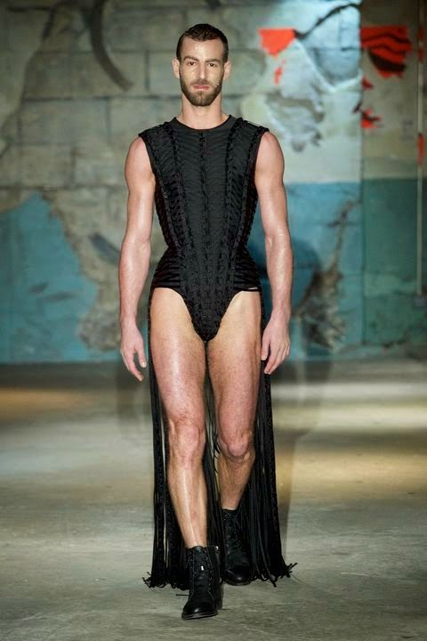 Gender Play at Serkan Cura show during Couture Paris Fashion Week. Serkan sent one of his couture looks on a male model (Thomas Lagrève), ...