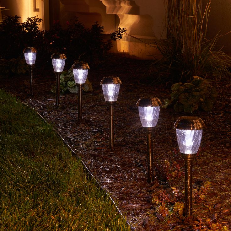 Set Of 6 Decorative Solar Lights Ideal For Pathways, Driveways And Gardens.  Stainless Steel