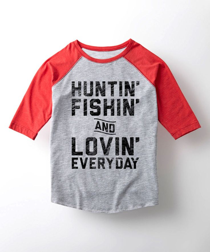 Another great find on #zulily! Athletic Heather & Red 'Huntin', Fishin' & Lovin'' Raglan Tee - Kids by Country Casuals #zulilyfinds