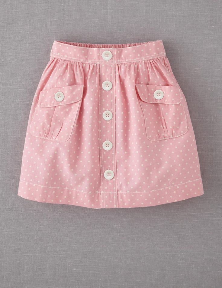 Mini Boden Polka dot Chambray Skirt