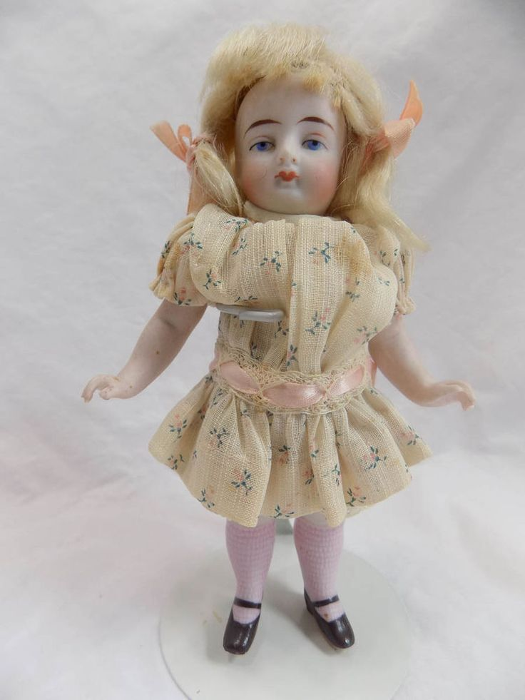 Antique German All Bisque Doll Pink Stockings Kling
