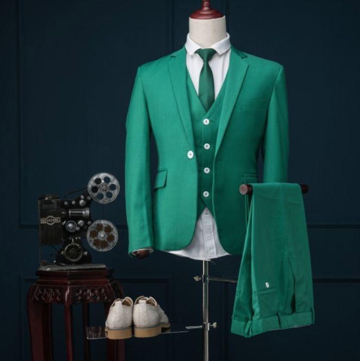 [Dark Green] Slim Fit noivo smoking 13 estilos padrinhos Notch lapela casamento / jantar ternos melhor homem noivo ( Jacket + Pants + Vest)