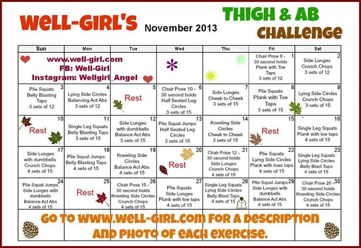 November workout challenge! Thigh and ab workouts | Exercise/Fitness ...