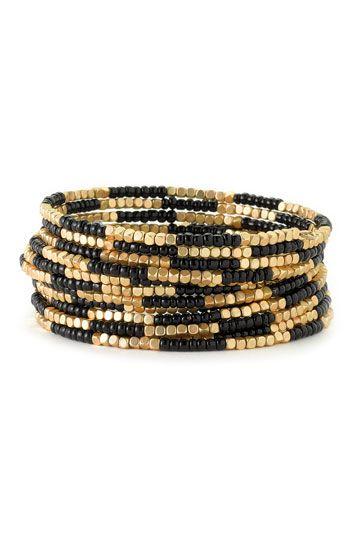 Cara Accessories Beaded Coil Bracelet   Nordstrom