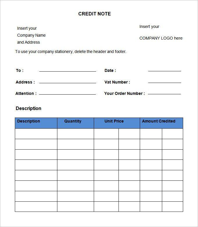 Image Result For Credit Note Format Notes Template Memorandum