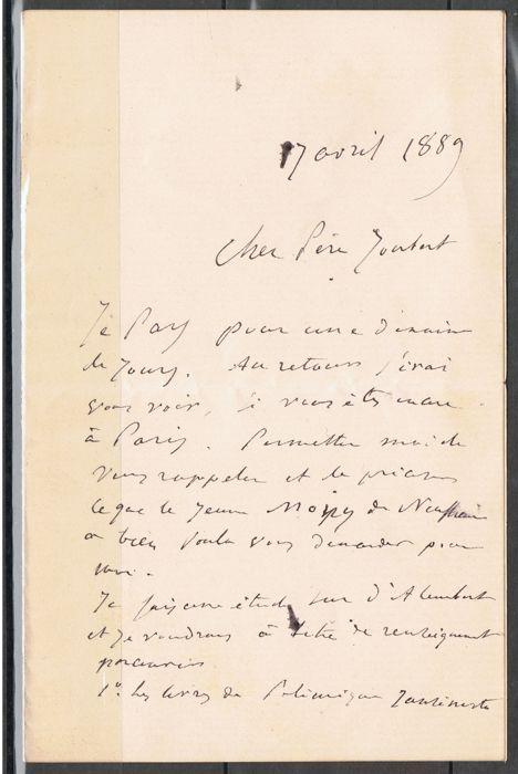Joseph Louis François Bertrand (1822-1900) - ondertekend handgeschreven brieven - c. 1850/1889  Joseph Louis François BERTRAND geboren 11/03/1822 - overleden 03/04/1900-Permanente secretaris van de Academie van Wetenschappen wiskundige econoom wetenschapshistoricus2 ondertekende handgeschreven brieven.de eerste van 17 April 1889 gericht aan de dominee vader Joubert S.J. over boeken van polemiek tegen de jezuïeten.de tweede (circa 1850) gericht aan Madame Pomelet (weduwe van de generaal) in…