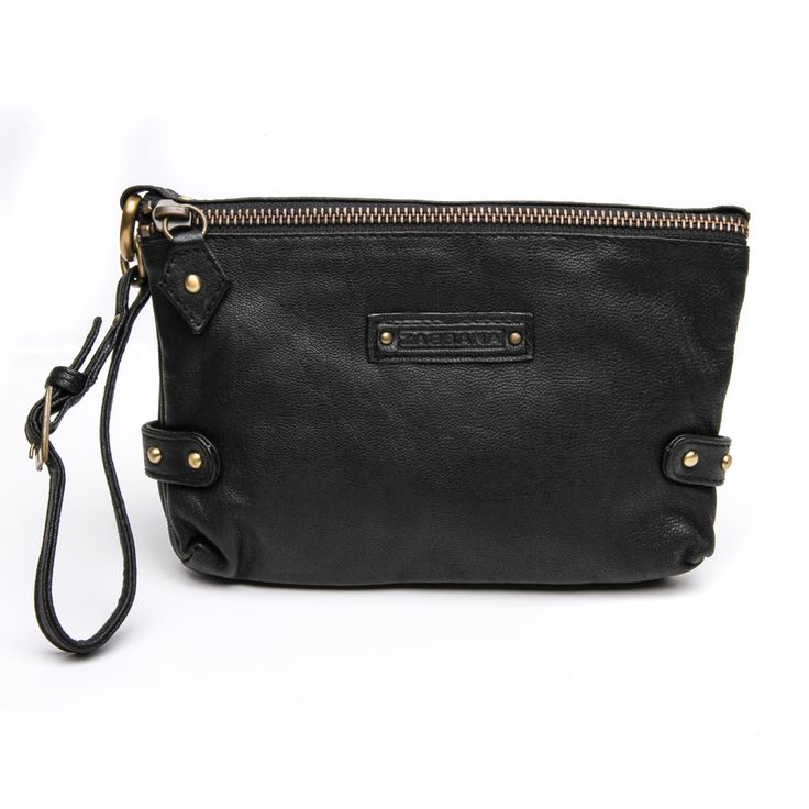 Dylan Clutch | meme & co. Soft genuine black leather, brass domes and a wrist strap - See more at: http://www.memeandco.com/product/dylan-clutch-0#sthash.mTiTZugL.dpuf