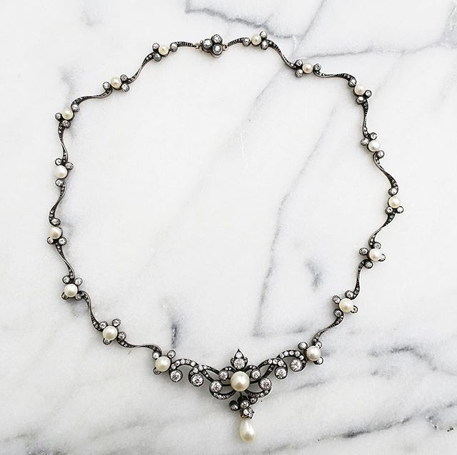 Antique Victorian natural pearl and diamond necklace #vintage #jewelry