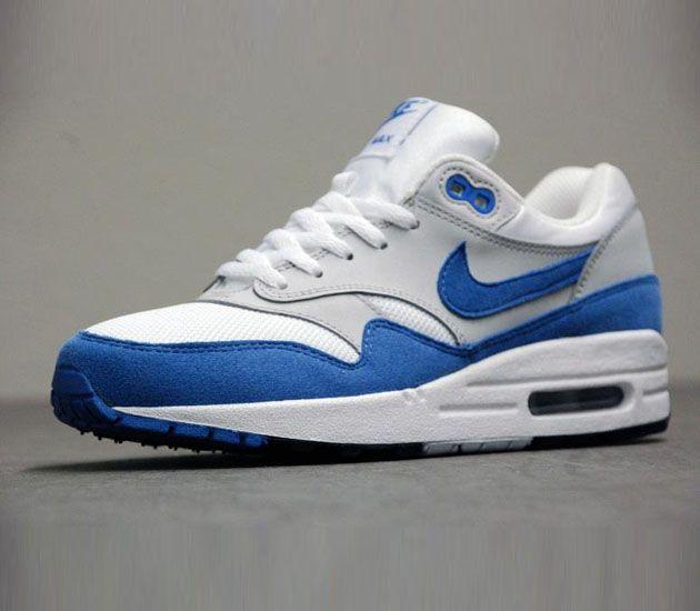 Nike Air Max 1 GS-White-Varsity Blue-Neutral Grey-Black #sneakers #kicks