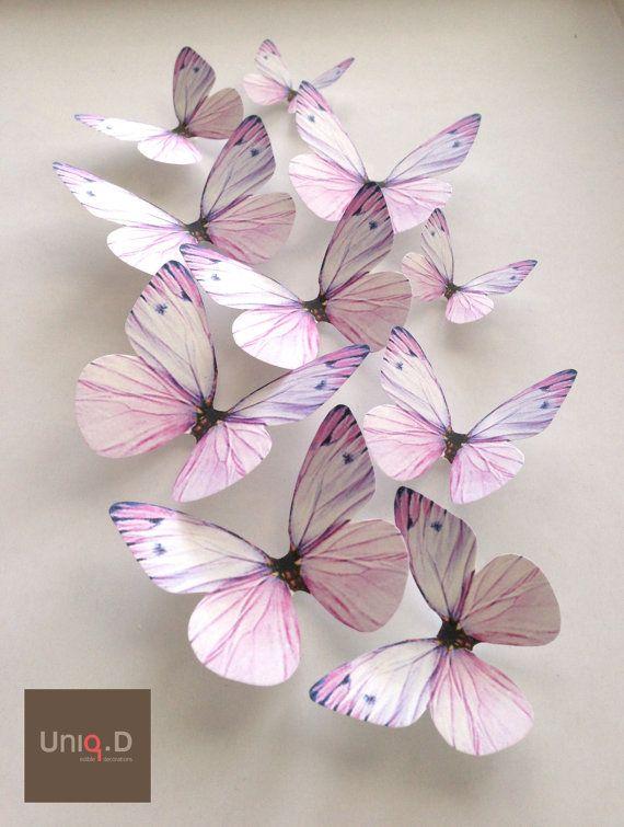lavender NURSERY DECORATION  3D lavender butterflies  by uniqdots