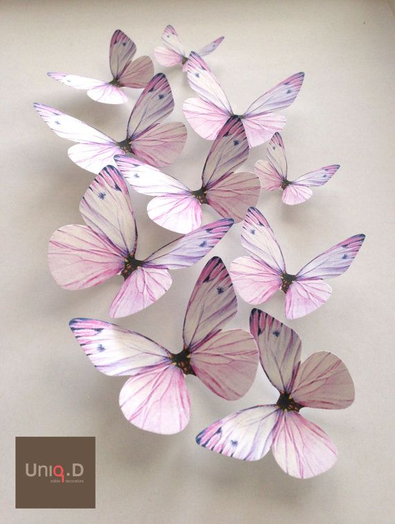 lavender NURSERY DECORATION  3D lavender butterflies  by uniqdots