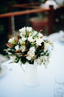 love the stephanotis with mini gem magnolia leaves.  Style Me Pretty | GALLERY & INSPIRATION | TAG: CENTERPIECES | PAGE: 31