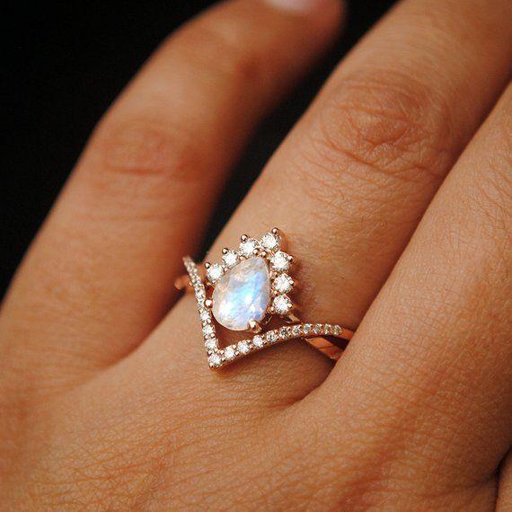 7×5 mm Pear Moonstone & Diamond Wedding Ring Set. 14K Rose | Etsy #weddingsets