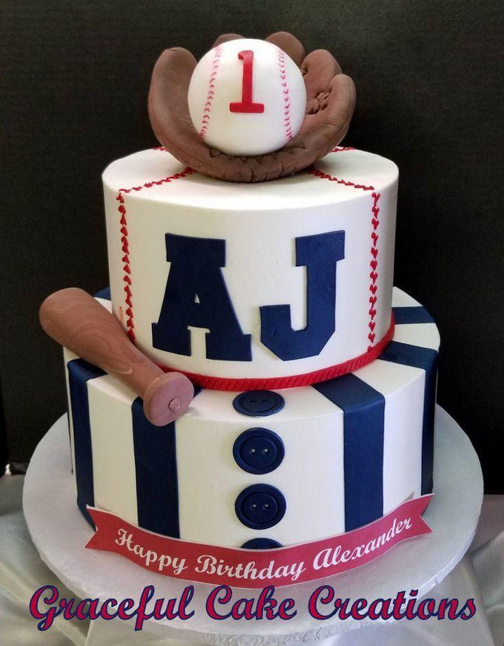 Amazing Baseball Themed 1St Birthday Cake Baseball Theme Birthday Funny Birthday Cards Online Necthendildamsfinfo