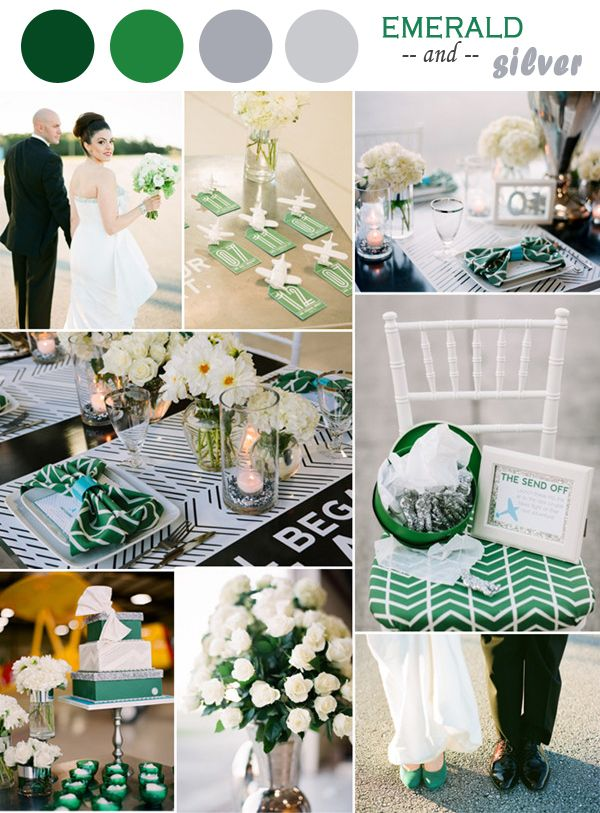 emerald green and silver wedding ideas