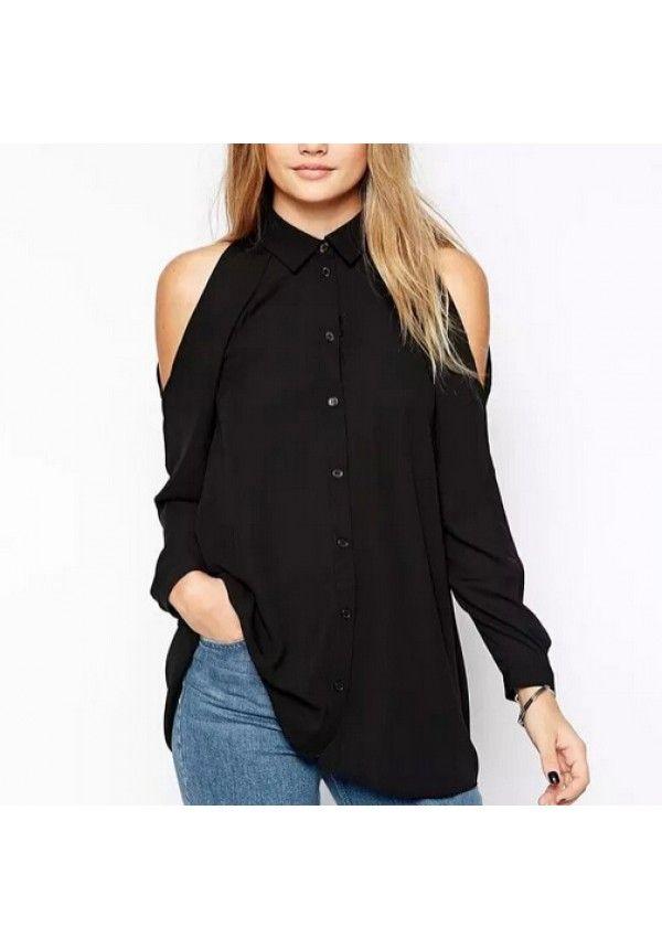Camisa manga larga gasa sexy tops hombro descubierto turn down collar blusa ocasional LT426