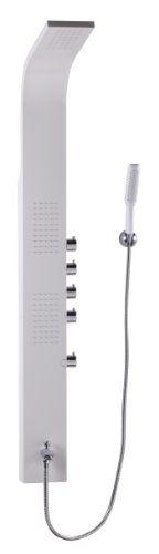 Wohnling WL2.005 Edelstahl Massage Duschpaneel 150 cm, Regendusche und Duschsäule 150 Düsen mit Brausekopf, Weiß