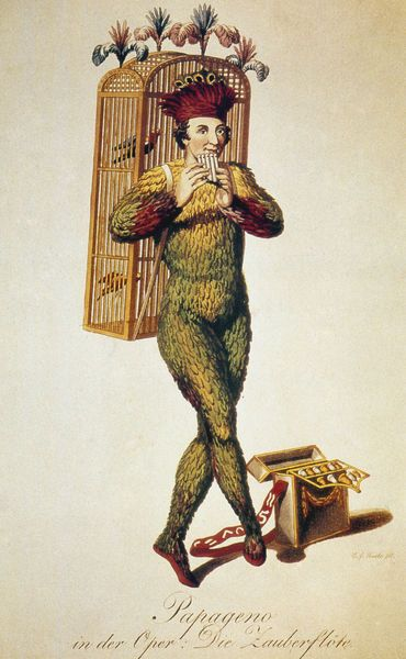 slylittlemy:  Papageno: from the 1816 Schinkel production of The Magic Flute, drawn by Carl Friedrich Thiele.