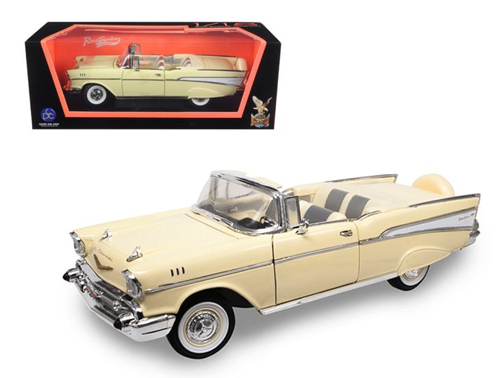 1957 Chevrolet Bel Air Convertible Cream 1/18 Diecast Model Car by Road Signature - Brand new 1:18 scale diecast model of 1957 Chevrolet Bel Air Convertible Cream die cast car model by Road Signature. Has steerable wheels. Brand new box. Rubber tires. Has opening hood and doors. Made of diecast with some plastic parts. Detailed interior, exterior, engine compartment. Dimensions approximately L-10, W-4, H-3.5 inches. Please note that manufacturer may change packing box at anytime. Product…