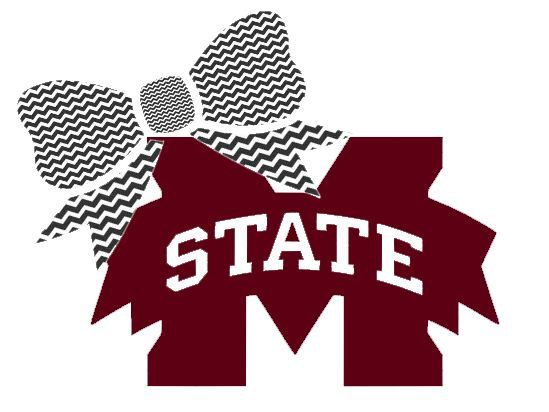 "Mississippi State with Bow Decal for Laptop, Tablet, Notebook, Car - Choose 3"", 4"", 5"" or 6"" - Choose Miss State Color & Bow Color"