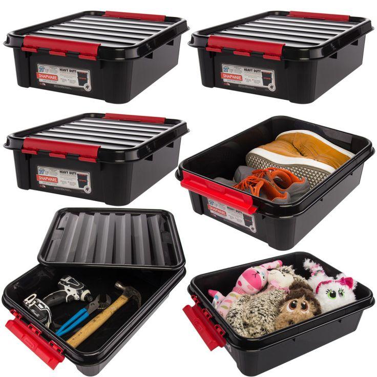 6pk plastic 20x6 snap lid boxes heavy duty stackable