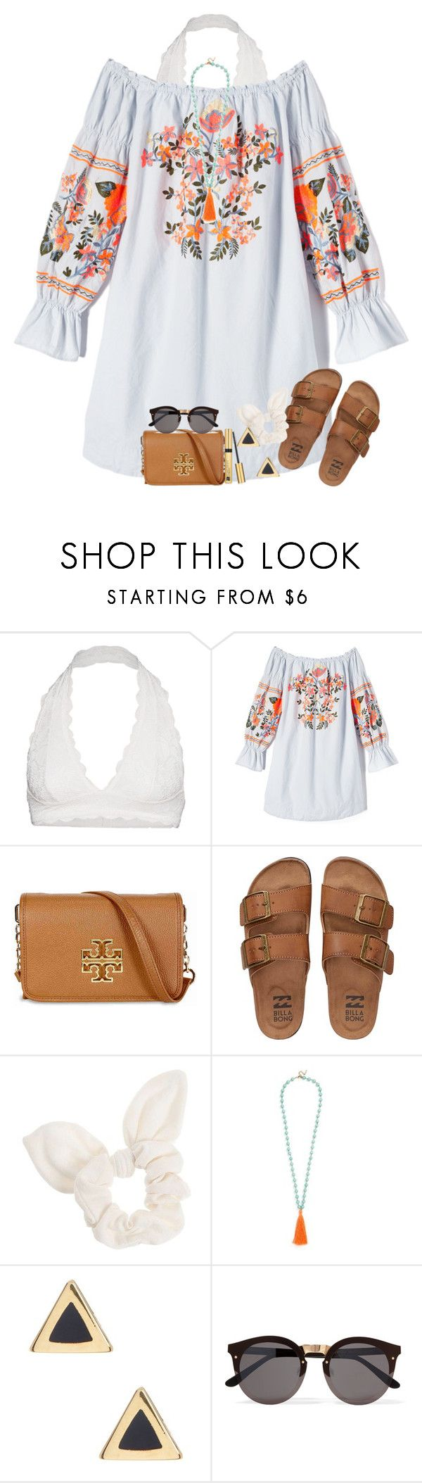 """""""Summer vibe """" by amaya-leigh ❤ liked on Polyvore featuring Free People, Tory Burch, Billabong, Dorothy Perkins, BaubleBar, Ariella Collection, Illesteva and Estée Lauder"""