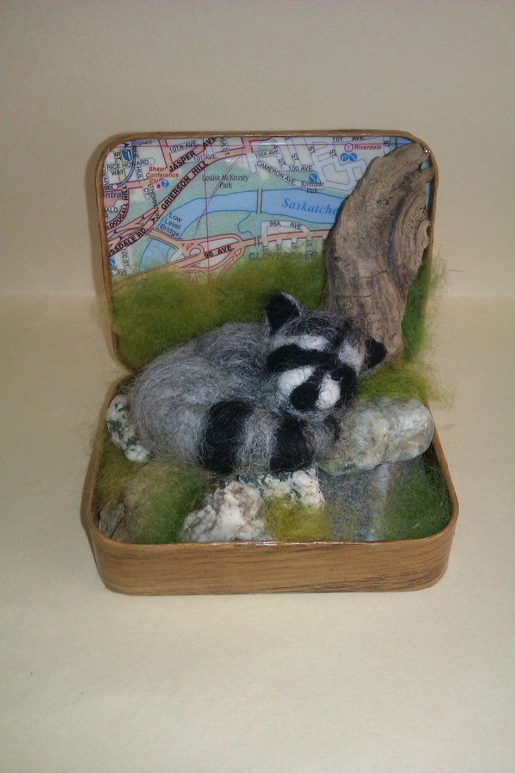 """""""Willow"""" the Sleeping Raccoon; 2014; needle felted sculpture by Holly Boone of Polar Lights Art Studio. Currently located at the Alberta Craft Council. - SOLD! http://polarlightsart.wix.com/plas#!hollys-work/cq0w"""