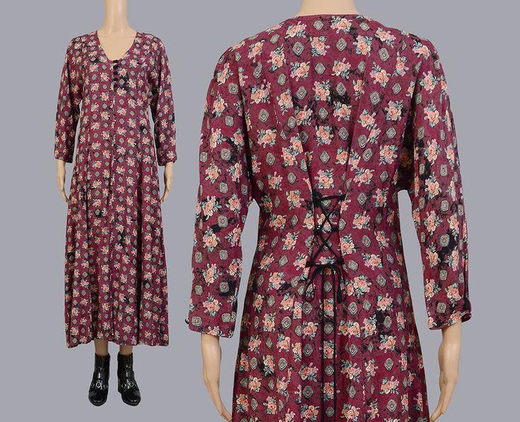 Vintage 90s Southwestern Floral Maxi Dress | Boho Lace Up Back | 1990s Romantic Grunge Long Sleeve Dress | Burgundy Brown | Small S by SHOPPOMPOMVINTAGE on Etsy