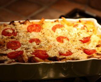Pasta med aubergine og kjøttdeig
