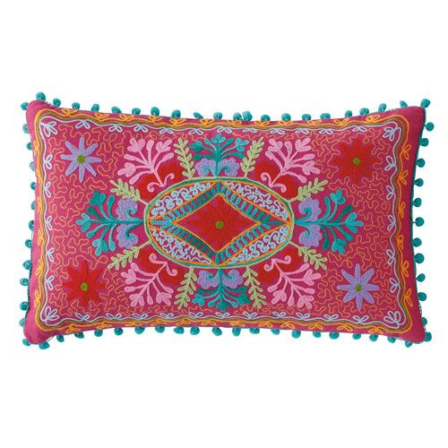 Coussin en coton multicolore 30 x 50 cm ROULOTTE