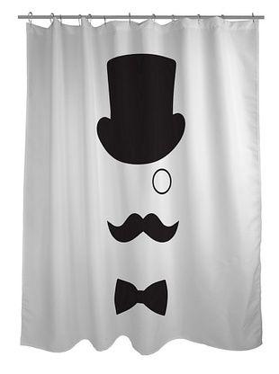 45% OFF One Bella Casa Top Hat Gentleman Shower Curtain, Oatmeal/Black