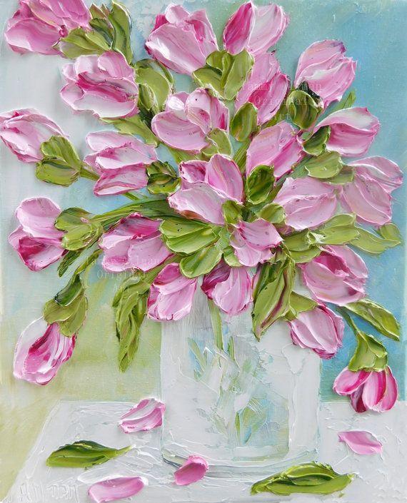 Tulip Oil Painting Impasto Painting , Pink Tulip Original Painting, Spring Wedding,Home Decor,