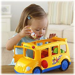"""The Fisher-Price® Little People® Lil' Movers™ School Bus is packed full with fun play, sounds and music!  Little ones discover """"The Wheels on the Bus"""" song plays when they move the bus around.  And each time kids press on a different seat, they hear"""