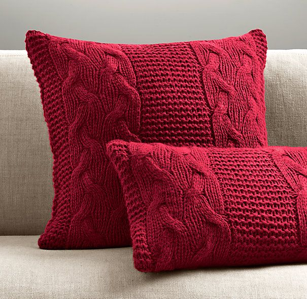 Knitting Pillow Patterns for Beginners | Italian Wool & Alpaca Cable Knit Pillow Cover - Garnet