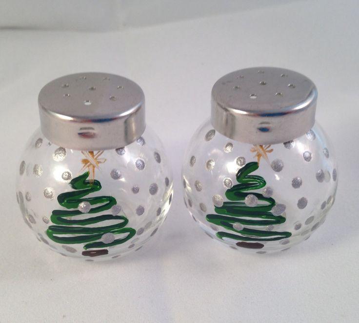Hand Painted Mini Christmas Tree Salt and Pepper Shakers Set by BirdyBlueVintage on Etsy