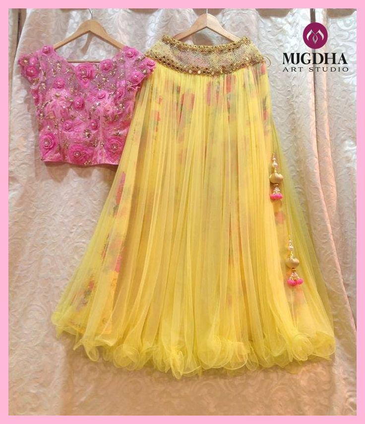 A beautiful combination lemon yellow with baby pink...!! Lemon yellow floral outfit teamed up with baby pink crop top blouse.. Bloused - embossed with thread work For orders/Enquiries - Contact Details:040-65550855/9949047889 Watsapp:9010906544 Email-id:Mugdha410@gmail.com Instagram:MugdhaArtStudio mugdha designer couture 27 August 2016