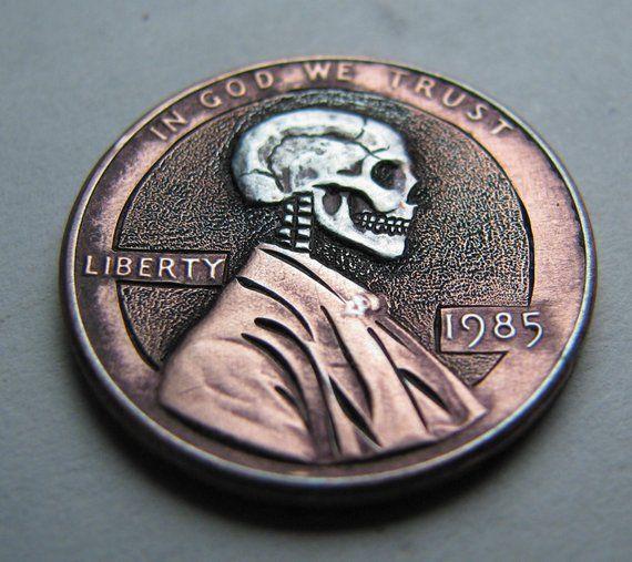 Hobo Nickel Penny Skull By M J  Petitdemange engraved | Etsy