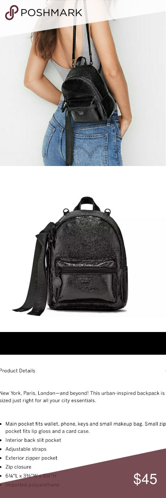 🆕 VS black ribbon backpack Brand new with tags  Metallic crackle city mini backpack  I own one myself and was amazed at how much it fits , it's the perfect everyday bag . Ribbons can stay on or come off, your choice.   measurements and details in picture above  Price is firm Victoria's Secret Bags Backpacks