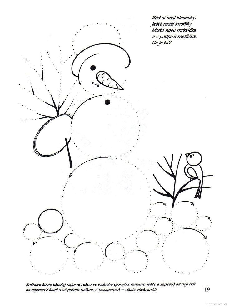 Zimní pracovní list k vytisknutí - sněhulák