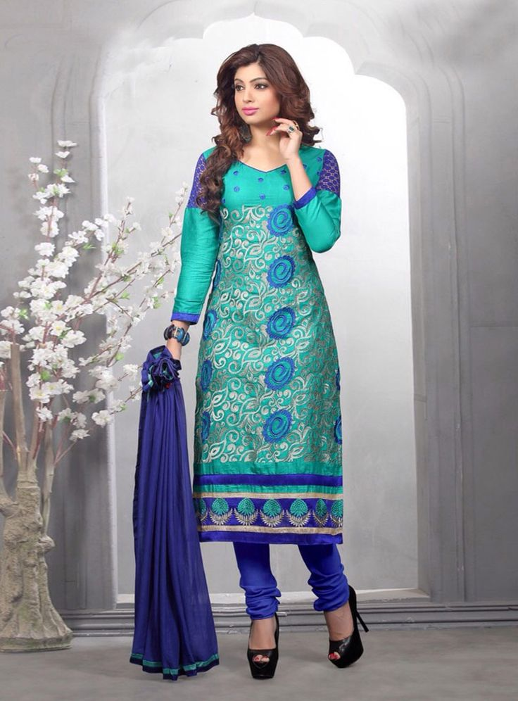 Turquoise Cotton Kameez With Churidar 84572