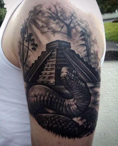 Aztec Snake Black Men's Tattoo