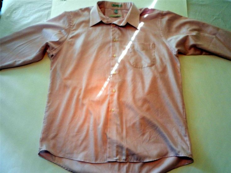 Geoffrey Beene Mens Sz XL 34/35 Pink Solid  Button Front Long Sleeves