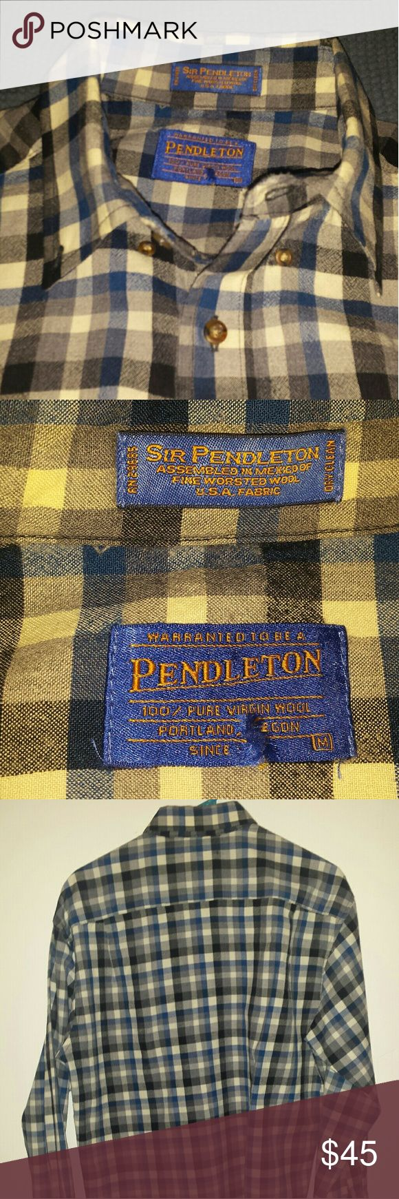 Pendleton plaid wool flannel 100% wool flannel by Pendleton with a brown,  white,  and blue plaid pattern.  Has a couple very slight signs of wear, but overall is in great condition. Pendleton Shirts Casual Button Down Shirts